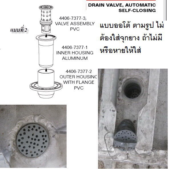 คาซู (Kazoo) แบบ Automatic self-closing drain value