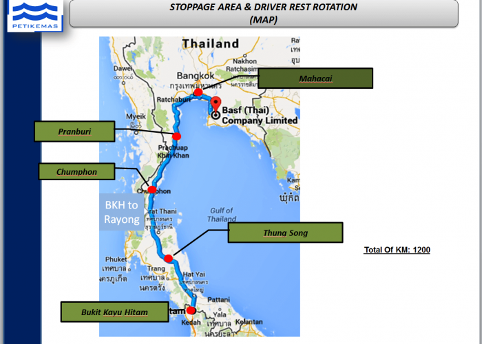 Thailand - Malaysia stoppage area & driver rest rotation