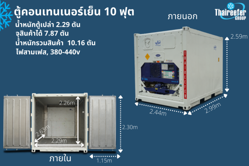 10ft reefer container size